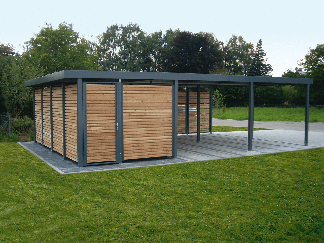 Carport Silenos on Flat Roof Modern House